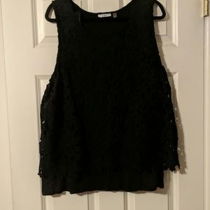 Lace tank with cotton underlay.